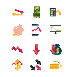 financial business crisis economy money stock vector image