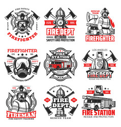 Fire firefighter department icons fireman helmet vector