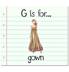 Flashcard alphabet G is for gown vector