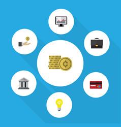 Flat icon finance set of bank portfolio hand vector