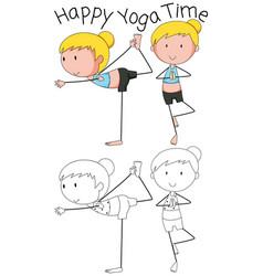 Girl doing yoga design vector