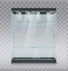 Glass showcase display cabinet mockup vector