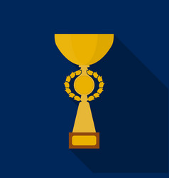 Gold cup icon in flate style isolated on white vector