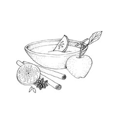 Hand drawn sketch of wassail or traditional drink vector