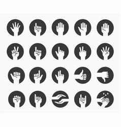 Hand gestures icon set finger choose pointer vector