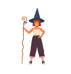 happy little girl in witch hat holding magic cane vector image