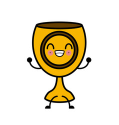 holy chalice isolated cute kawaii cartoon vector image