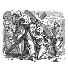 jesus carrying cross on way to calvary vector image