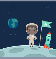 Kid astronaut standing on the moon space vector