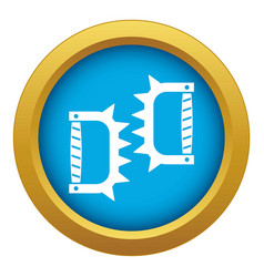 knuckles with spikes icon blue isolated vector image