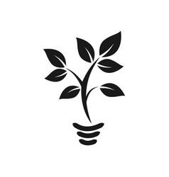 Lamp eco friendly plant logo design vector