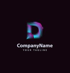 letter d modern wave line logo design template vector image