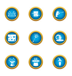 magical world icons set flat style vector image