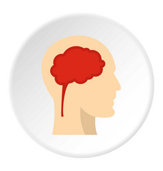 Man head silhouette with brain inside icon circle vector