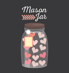 Mason jar glass with hearts and tag hanging vector