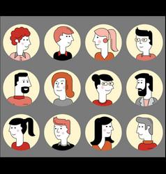 Material cartoon avatars trendy characters vector