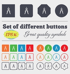Mathematical Compass sign icon Big set of colorful vector