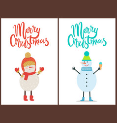 merry christmas banner congratulation from snowman vector image