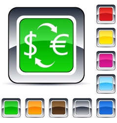 Money exchange square button vector