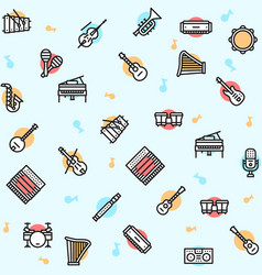 musician equipment colorful linear icons set vector image