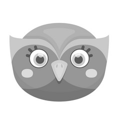 Owl muzzle icon in monochrome style isolated on vector