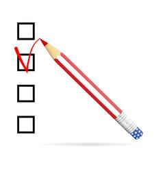 pencil drawing check mark in check box us vector image