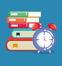 Pile books with alarm clock vector