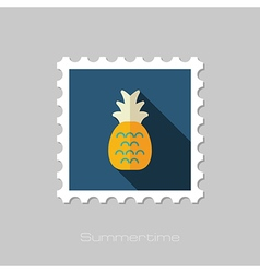 Pineapple flat stamp Summer Vacation vector image