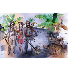 pirates an hand drawn freehand drawing vector image