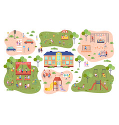 playground kids in kindergarten parking space vector image
