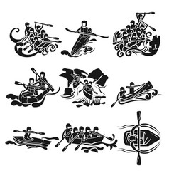 rafting icon set simple style vector image