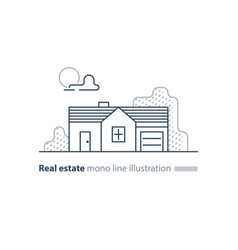 Real estate linear icon low house property vector
