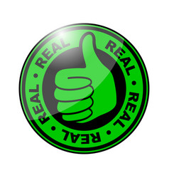 Real thumbs up icon vector