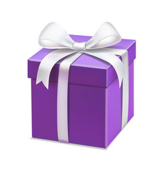 Realistic purple gift box with white ribbon vector