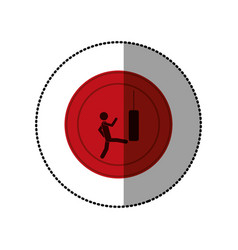 Red symbol person kicking a punching bag vector