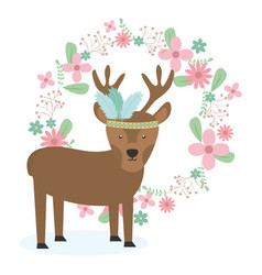 Reindeer with feathers hat anf floral crown vector