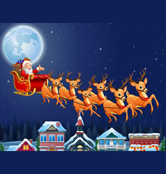 santa drove a wildebeest background full moon vector image