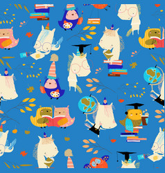 seamless pattern with funny cartoon owls vector image