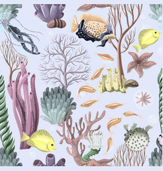 Seamless pattern with sea inhabitants and herb vector