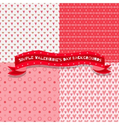 set four cute and simple valentines day vector image