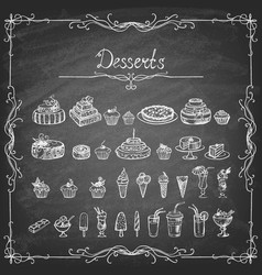 set hand-drawn dessert on a chalk board vector image