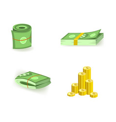 Set of cartoon bill money currency elements with vector