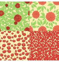 Set of seamless patterns with red flowers vector image