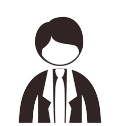 Silhouette half body man suit with tie vector