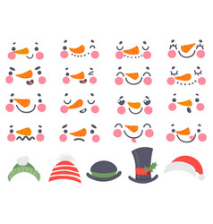 snowman faces cute christmas snowmen heads with vector image