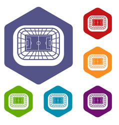 Stadium top view icons set vector