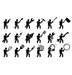 Stick figure stick man using various tools and vector