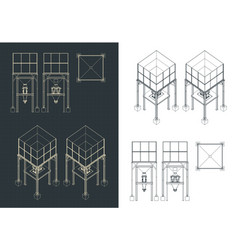 Storage and buffer silo blueprints set vector