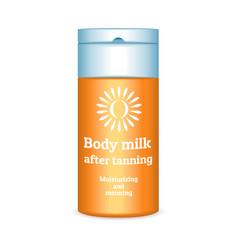 Sunscreen body milk icon realistic style vector