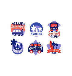 surfing club logo design collection bright surf vector image